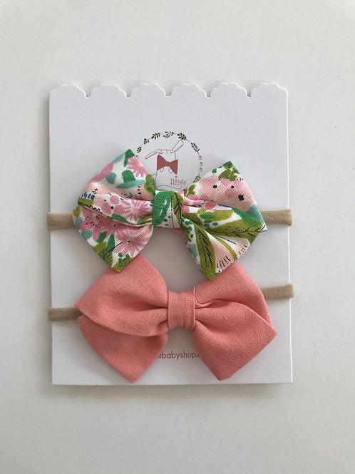 Moñitos Floral y Salmón