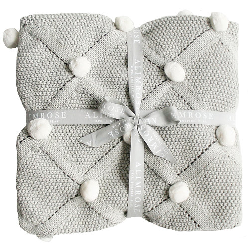 Pom Pom Grey Blanket