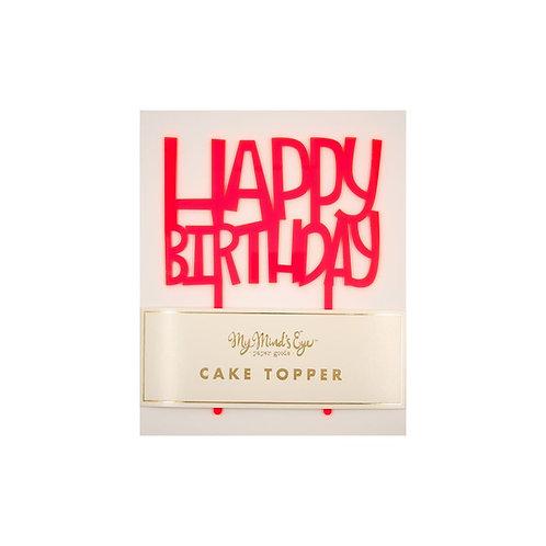 Neon Happy Birthday Cake Topper