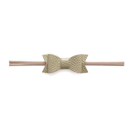 Metallic Gold Leather Bow Tie