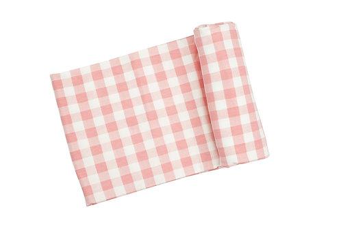 Gingham Pink Swaddle Blanket