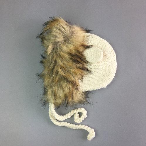 Cream Lennon Lion Knit Hat