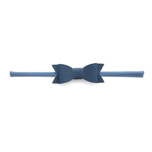 Denim Leather Bow