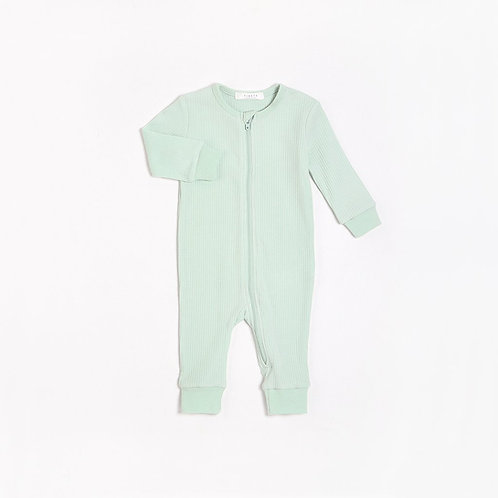 Pistacchio Long Sleeve Romper with Organic Cotton