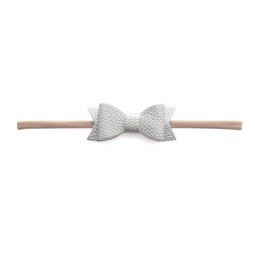 Silver Leather Bow Tie