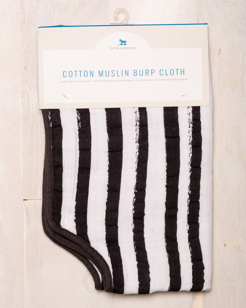 COTTON MUSLIN BURP CLOTH - INK STRIPE 1