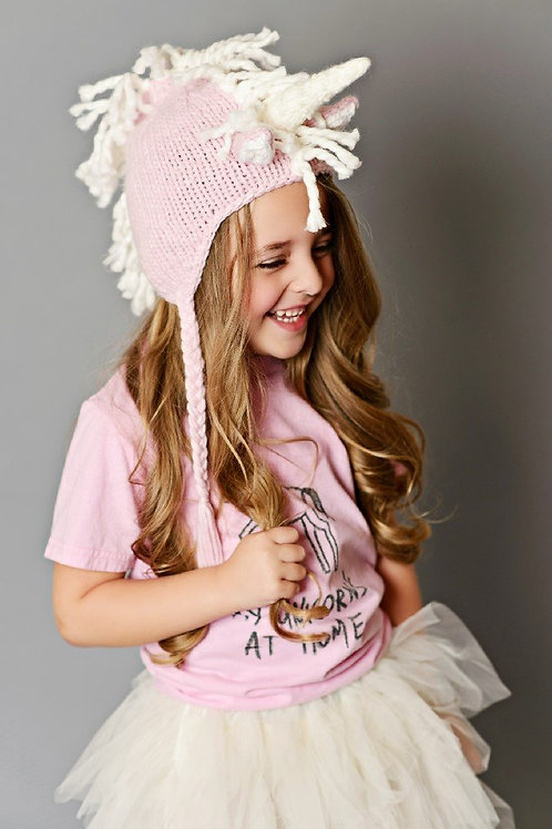Ella Unicorn Pink Knit Hat