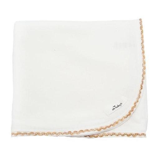 Trimmed Layette Blanket Cream