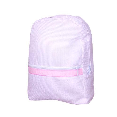 Pink Seersucker Medium Backpack