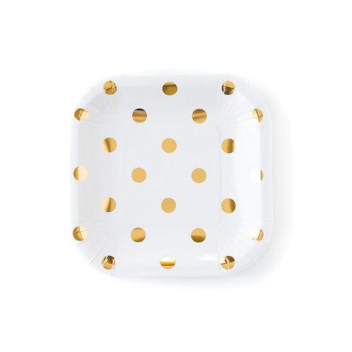 Cream Polka Plates