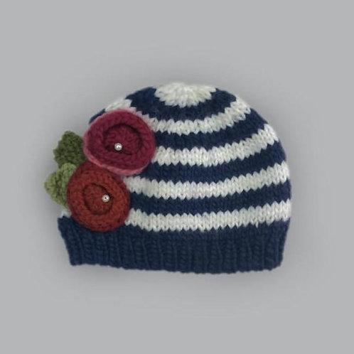 Bree w/Flowers Knit Hat