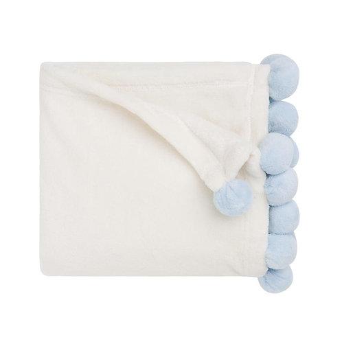 Blue Poms Blanket