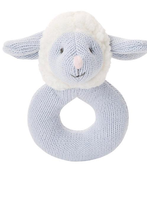 Blue  Lamb Ring Rattle