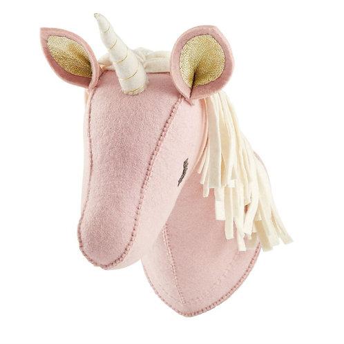 Pink Wool Unicorn Wall Mount