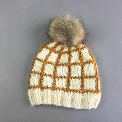 Mustard Isla Windowpane Knit Hat