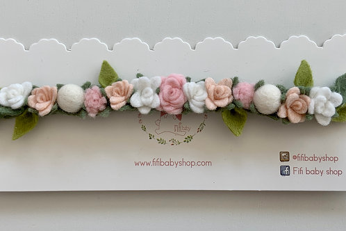 Corona Flores Fieltro- Light Pink
