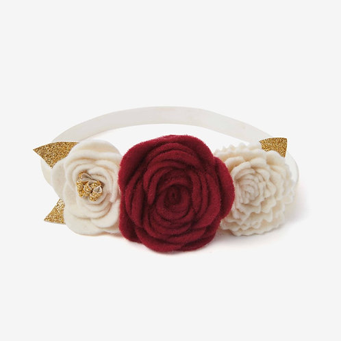 3 Flower Burgundy Headband