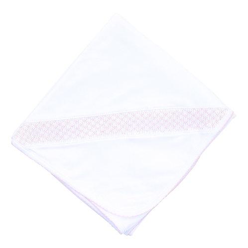 Essential Smocked Blanket White Pink