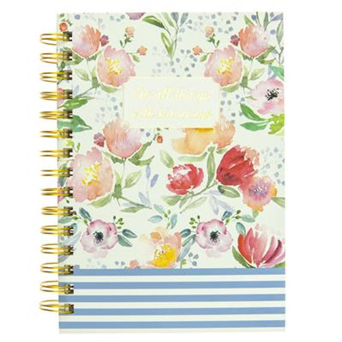 Floral Stripe Hard Cover Journal