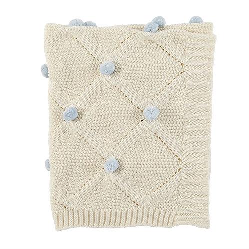 Blue Classic Pom Pom Blanket
