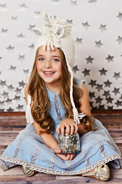 Elle Unicorn Silver Stripe Knit Hat