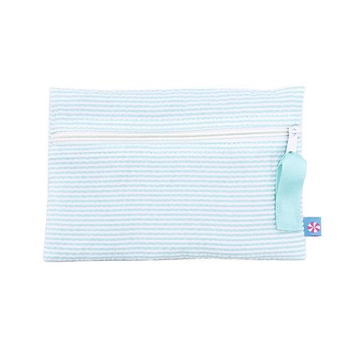 Mint Seersucker Cosmo Bag