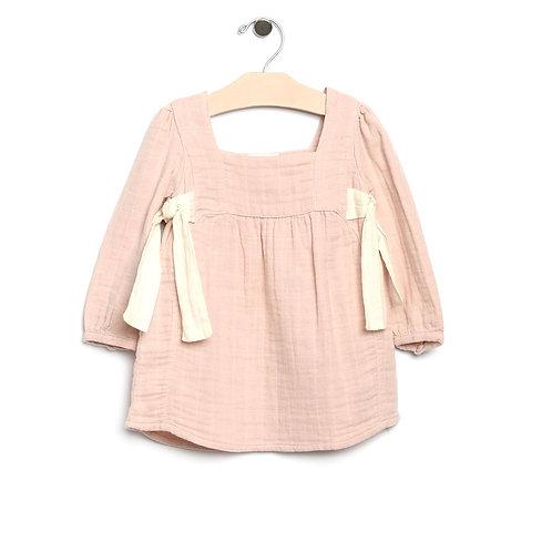 Soft Rose Muslin Side Ties Dress