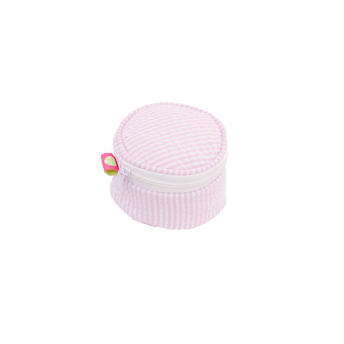 15cm Pink Seersucker Button Bag