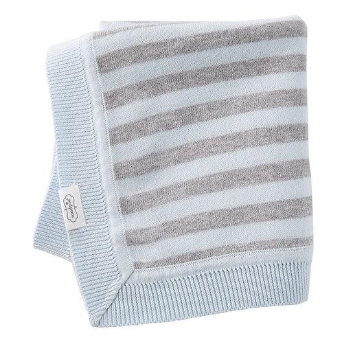 Blue Grey Stripe Knit Blanket