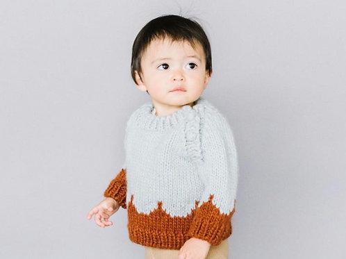 Scallop Sweater Gray/Cinammon