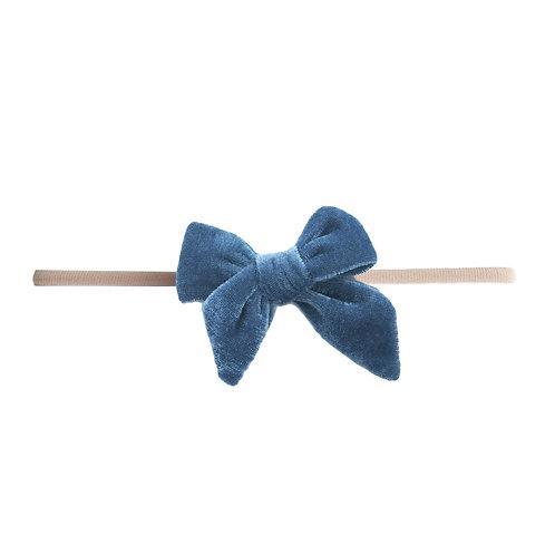Slate Blue Velvet Bow Skinny
