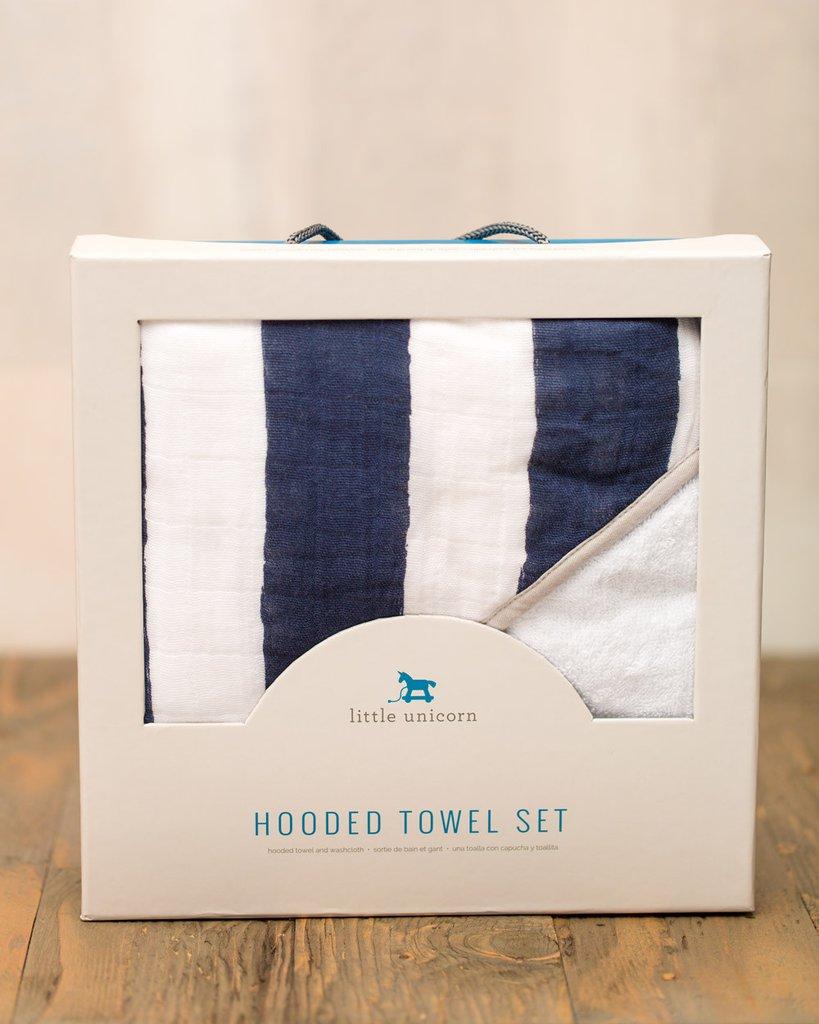 HOODED TOWEL SET - NAVY STRIPE 1