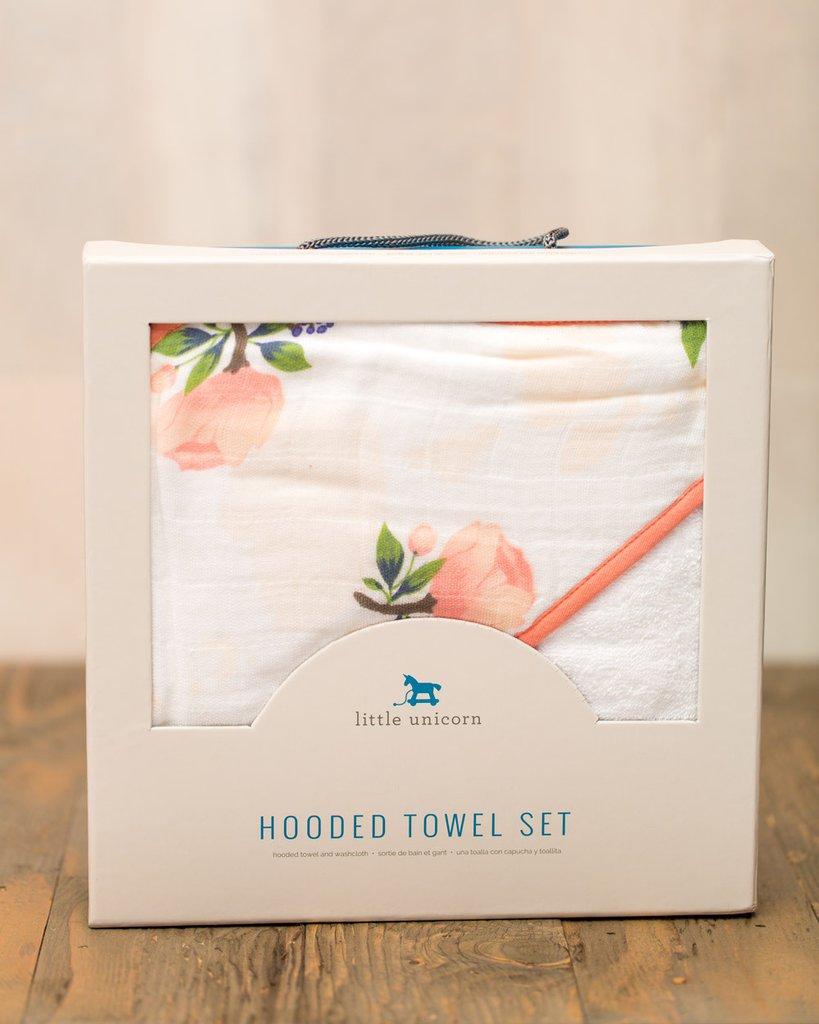 HOODED TOWEL SET - WATERCOLOR ROSE 1