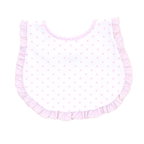 Pink Gingham Dots Ruffle Bib
