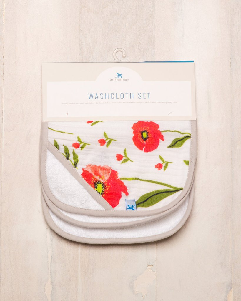 WASHCLOTH SET - SUMMER POPPY 1