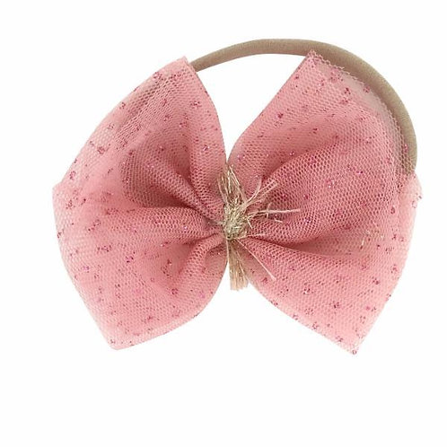 Glinda Bow Nylon Headband - Blush