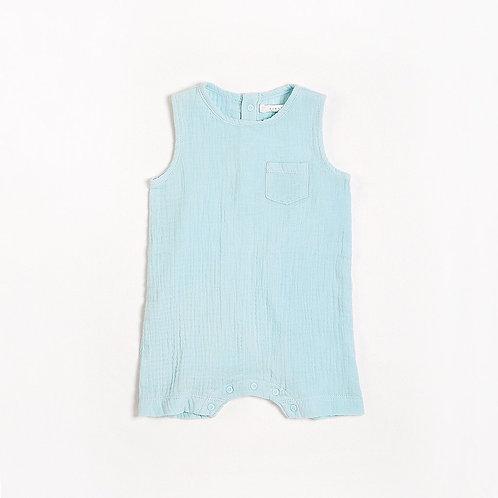 Azzurro Sleeveless Romper with Organic Cotton