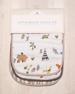 COTTON MUSLIN CLASSIC BIB - FOREST FRIENDS 1