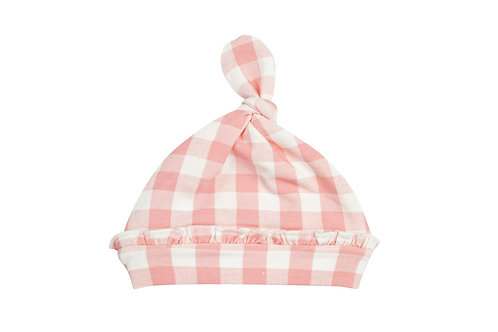 Gingham Pink Knotted Hat