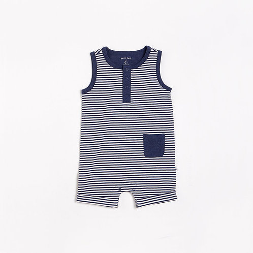 Navy Baby Sleeveless Romper Knit
