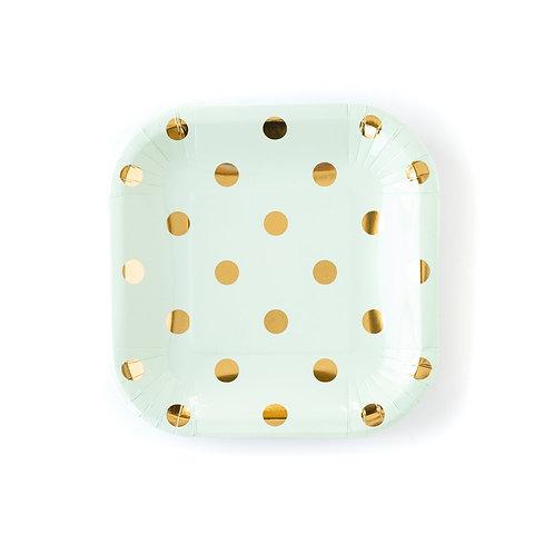 Mint Polka Dot Plate