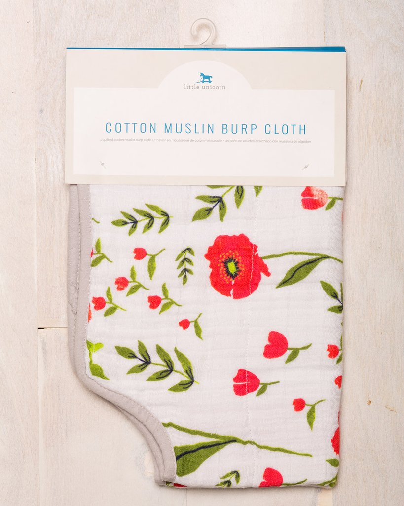 COTTON MUSLIN BURP CLOTH - SUMMER POPPY 1