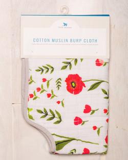 COTTON MUSLIN BURP CLOTH - SUMMER POPPY 1
