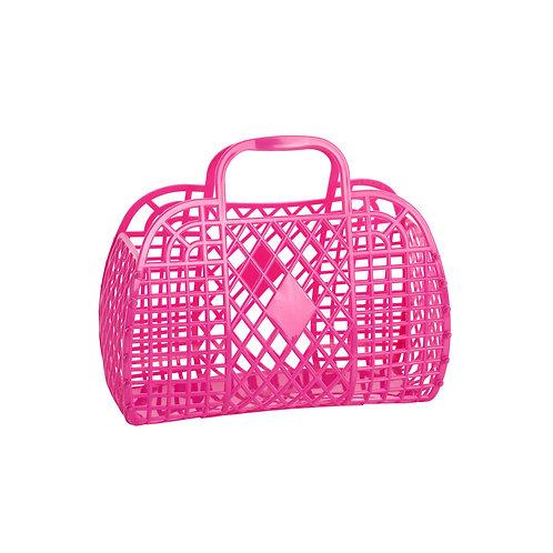Hot Pink Small Retro Basket