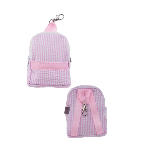 Pink Seersucker Tiny Backpack