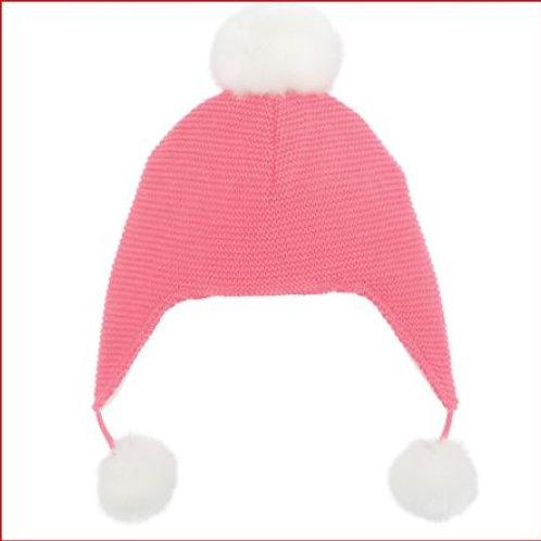 Bright Pink Pom Aviator Hat