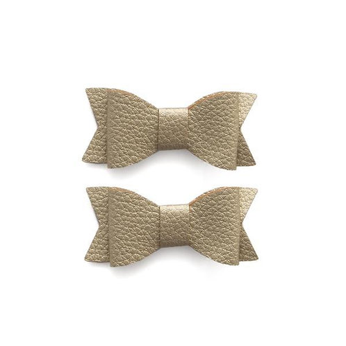 Metalic Gold Leather Bow Tie Clips