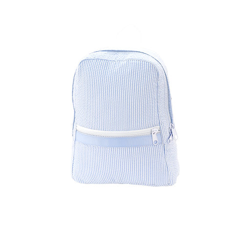 Baby Blue Seersucker Medium Backpack