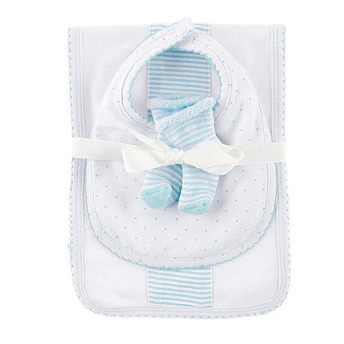 Blue Burp Bib and Sock Set