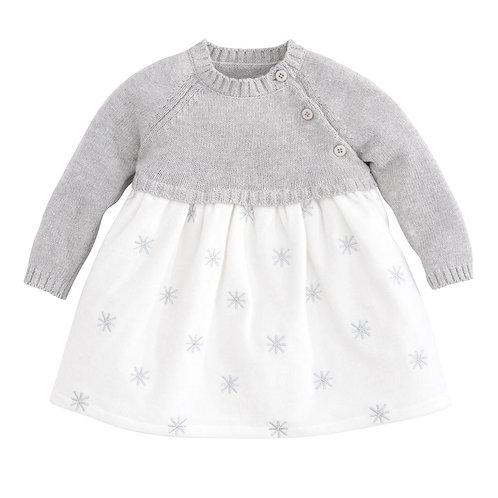 Vestido Sweater Gris y Terciopelo